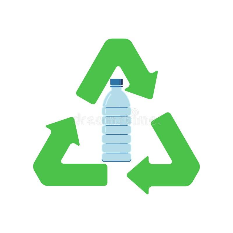 Muestra que recicla las botellas plásticas Icono plano del estilo libre illustration