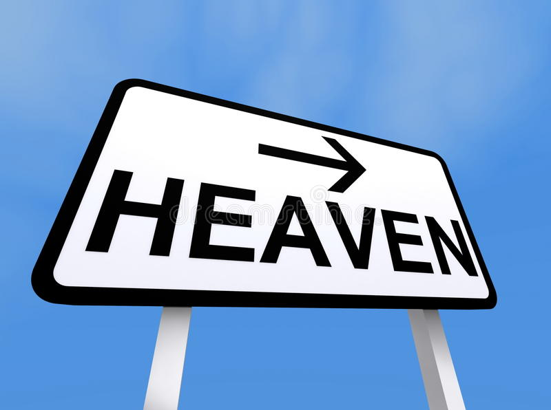 Muestra que señala manera al cielo libre illustration