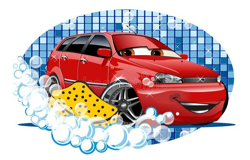 Muestra que se lava del coche con la esponja ilustración del vector