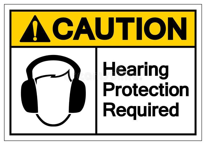 Muestra requerida del símbolo de la protección de oído de la precaución, ejemplo del vector, aislante en la etiqueta blanca del f stock de ilustración