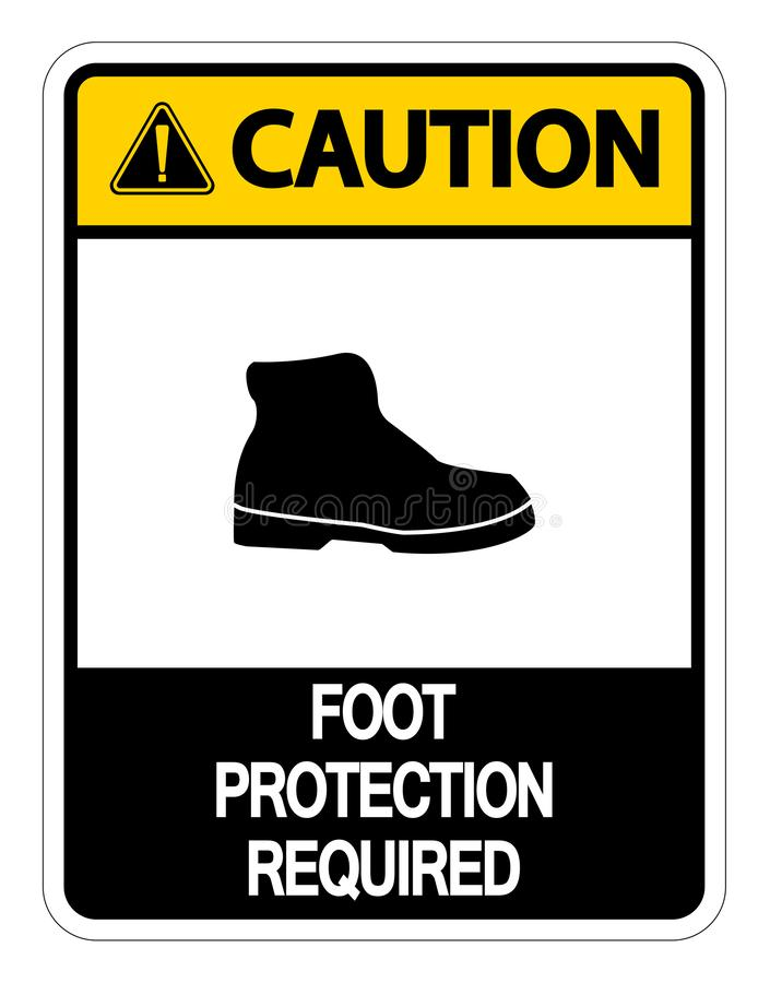 muestra requerida protección de la pared del pie de la precaución del símbolo en el fondo blanco ilustración del vector