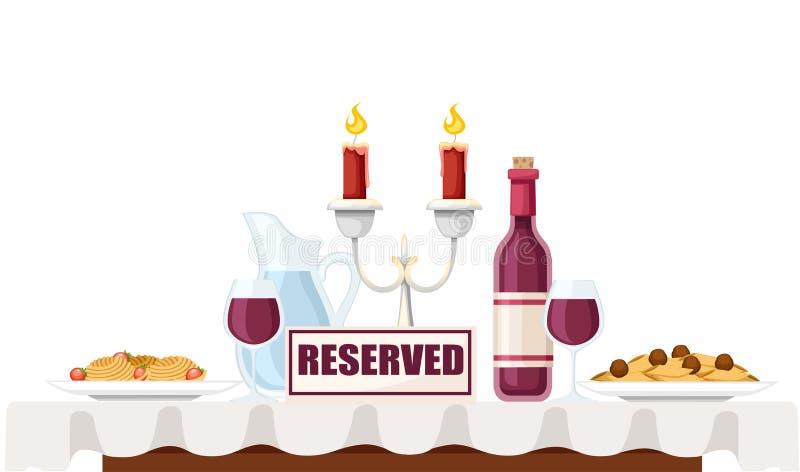 Muestra reservada en la tabla en caf? o restaurante Pastas italianas en las placas, las botellas de vino tinto, y el candelabro b ilustración del vector