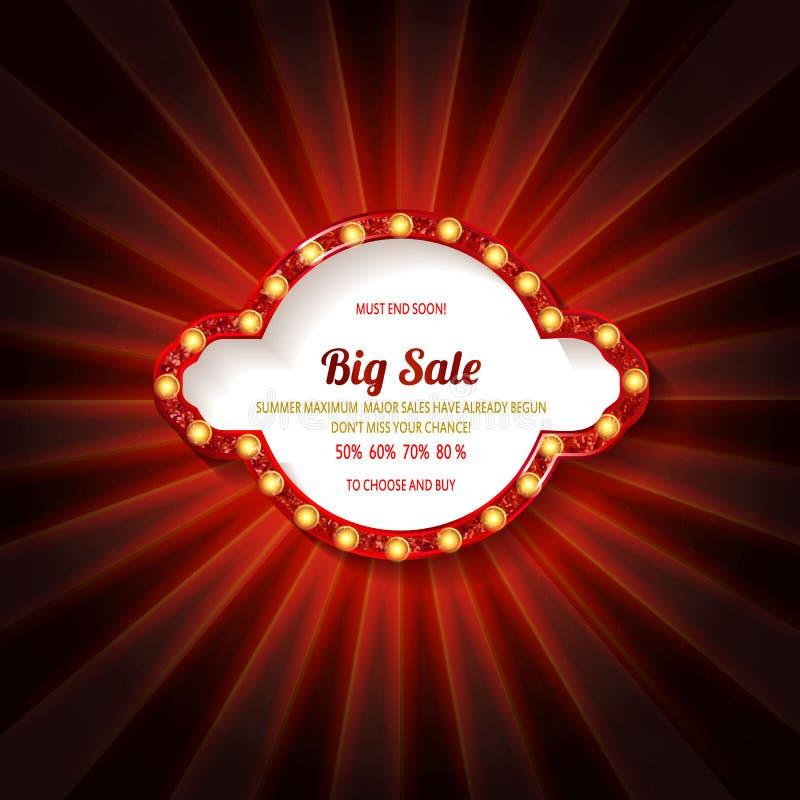 Muestra retra con la venta más grande de la lámpara stock de ilustración