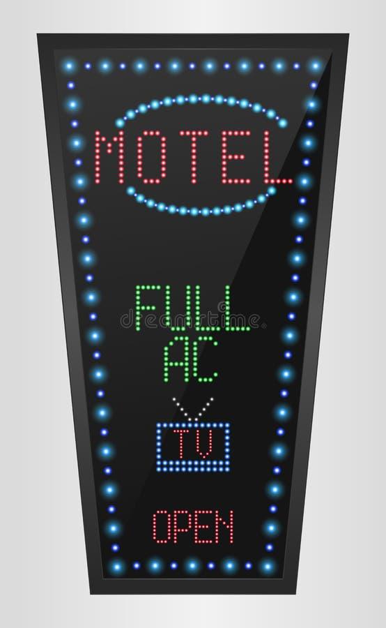 Muestra retra con las luces azules y el motel de la palabra ilustración del vector