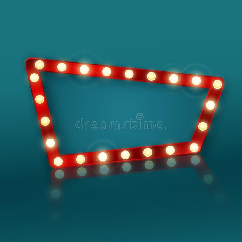 Muestra retra de la bandera con la reflexión Letrero en una publicidad del motel o del casino Ilustraci?n del vector ilustración del vector