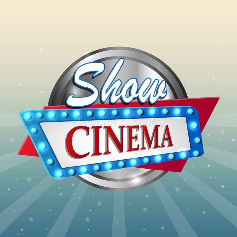 Muestra retra del cine con el marco ligero stock de ilustración