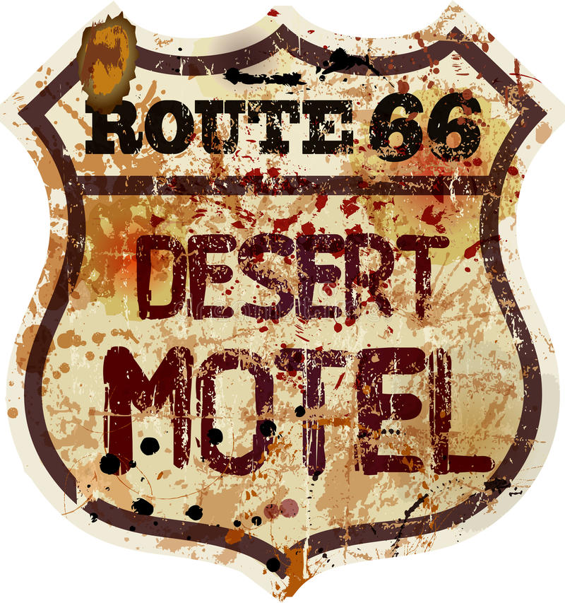 Muestra retra del motel de la ruta 66 ilustración del vector