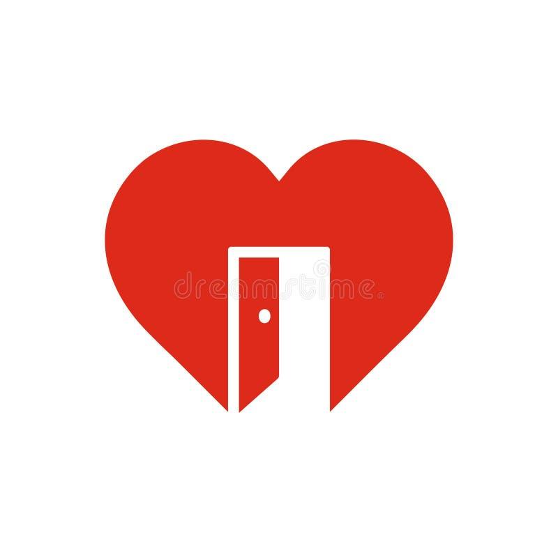 Muestra roja con la puerta abierta, símbolo del corazón de la cordialidad, sensación abierta, icono de la confianza libre illustration