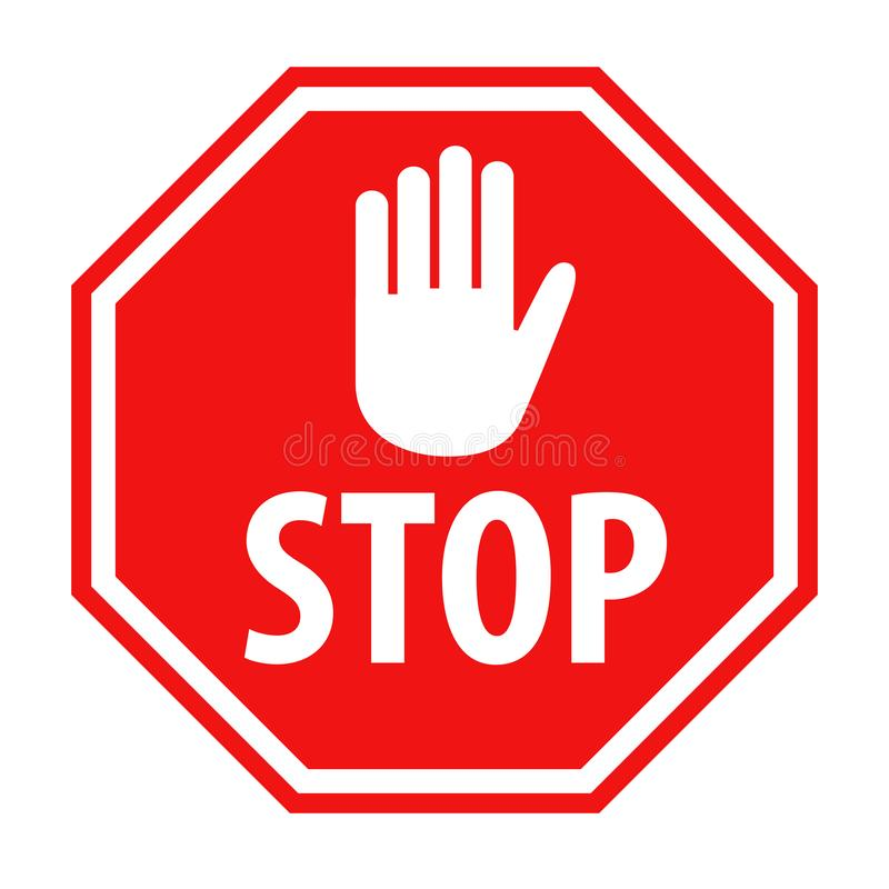 Muestra roja de la parada con el ejemplo blanco del vector del icono del símbolo de la mano libre illustration