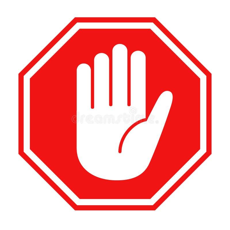 Muestra roja de la parada con el ejemplo del vector del icono del símbolo de la mano grande stock de ilustración