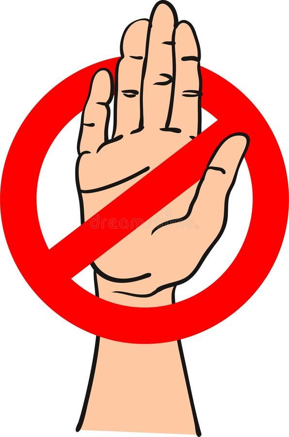 Muestra roja de la parada con una mano dentro de señalar la parada - ejemplo exhausto del vector de la mano stock de ilustración
