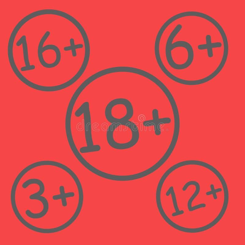 Muestra roja de la restricción de la edad ilustración del vector