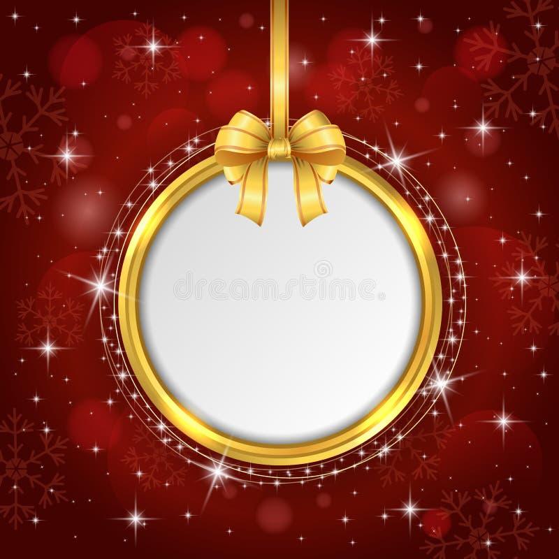 Muestra roja del espacio en blanco de la tarjeta de Navidad con la cinta del oro ilustración del vector