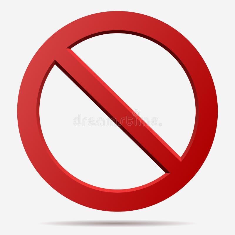 Muestra roja del vector de la prohibición ilustración del vector