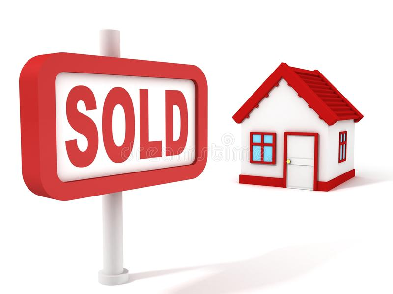 Muestra vendida del rojo del concepto de las propiedades inmobiliarias de la casa ilustración del vector
