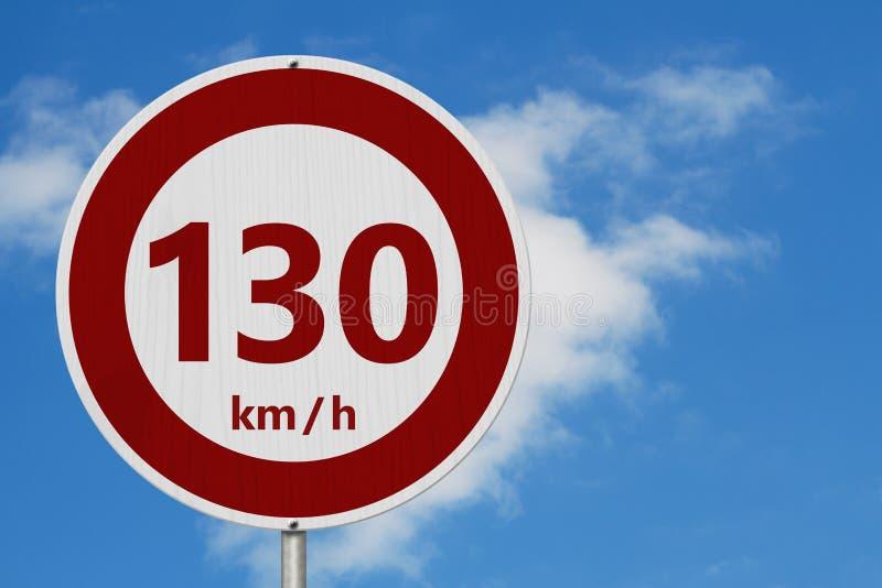 Muestra roja y blanca del límite de velocidad de 130 kilómetros foto de archivo libre de regalías