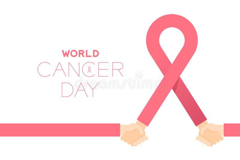 Muestra rosada con las manos de la tenencia, ejemplo del cáncer de pecho de la cinta del diseño de la plantilla del cartel de la  stock de ilustración