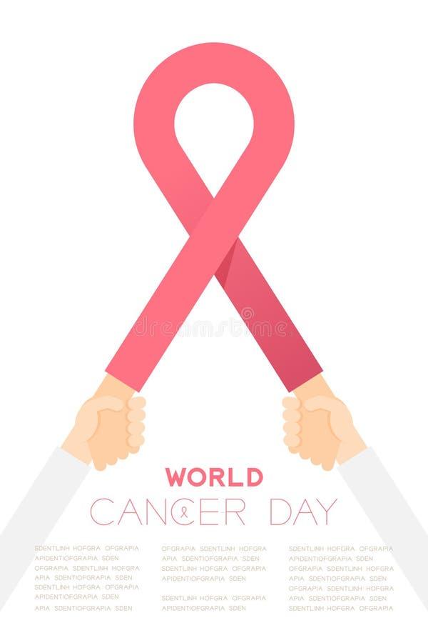 Muestra rosada con las manos de la tenencia, ejemplo del cáncer de pecho de la cinta del diseño de la plantilla del cartel de la  ilustración del vector