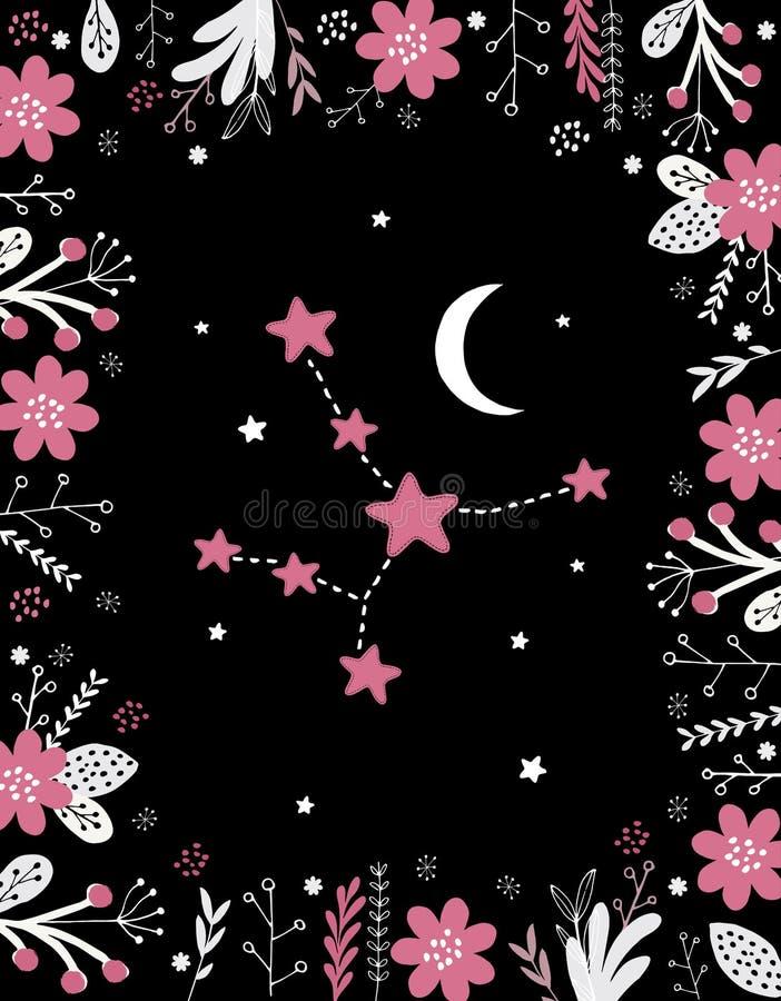 Muestra rosada simple divertida del vector del virgo Marco floral, luna blanca y estrellas stock de ilustración