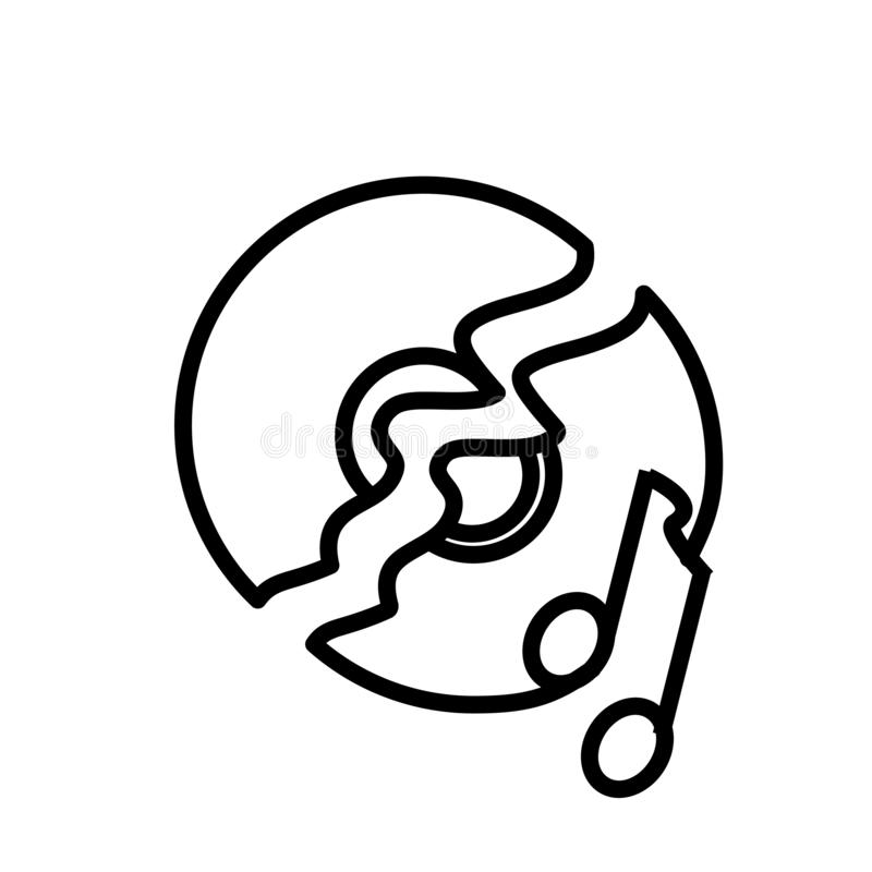 Muestra rota y símbolo del vector del icono del disco aislados en el fondo blanco, concepto quebrado del logotipo del disco stock de ilustración