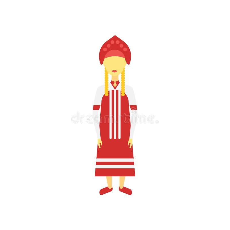 Muestra rusa y símbolo del vector del icono aislados en el fondo blanco, concepto ruso del logotipo stock de ilustración