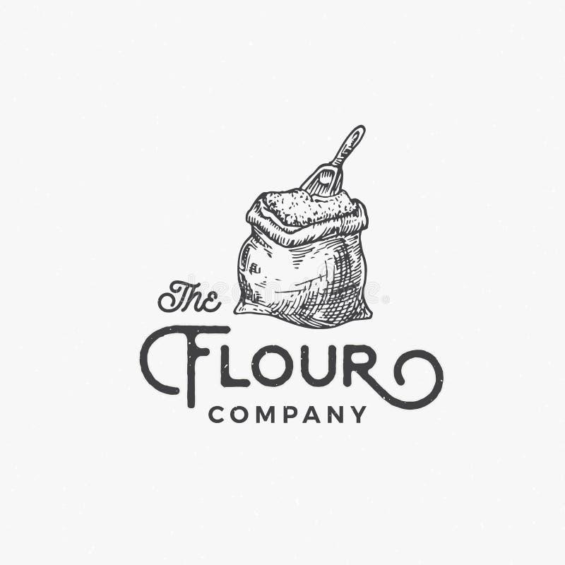 Muestra, símbolo o Logo Template abstracto del vector de Flour Company Bolso o saco con el dibujo de bosquejo de la cucharada y r ilustración del vector
