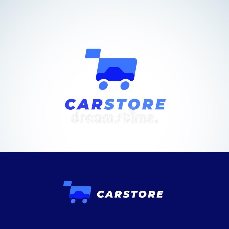 Muestra, símbolo o Logo Template del vector del extracto de la tienda del coche Silueta y carro de la compra autos con tipografía ilustración del vector