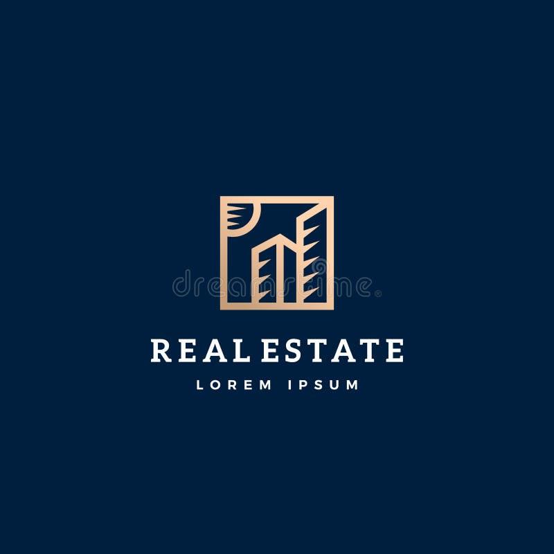 Muestra, símbolo o Logo Template del vector del extracto de Real Estate Edificios del rascacielos en un marco cuadrado con tipogr stock de ilustración
