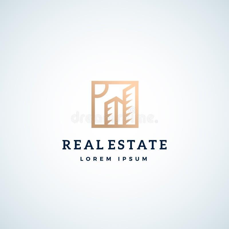 Muestra, símbolo o Logo Template del vector del extracto de Real Estate Geometría dos edificios del rascacielos en un marco cuadr stock de ilustración