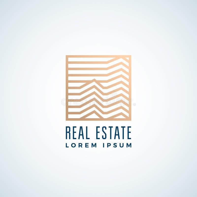 Muestra, símbolo o Logo Template del vector del extracto de Real Estate Línea edificios del estilo en un marco cuadrado con tipog libre illustration