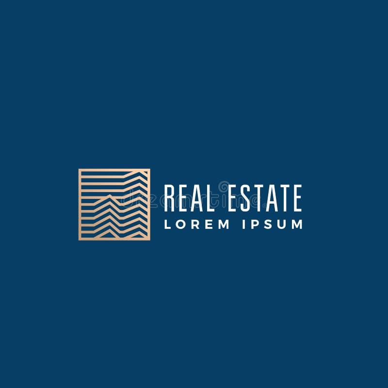 Muestra, símbolo o Logo Template linear del vector del extracto de Real Estate Edificios del rascacielos en un marco cuadrado con ilustración del vector