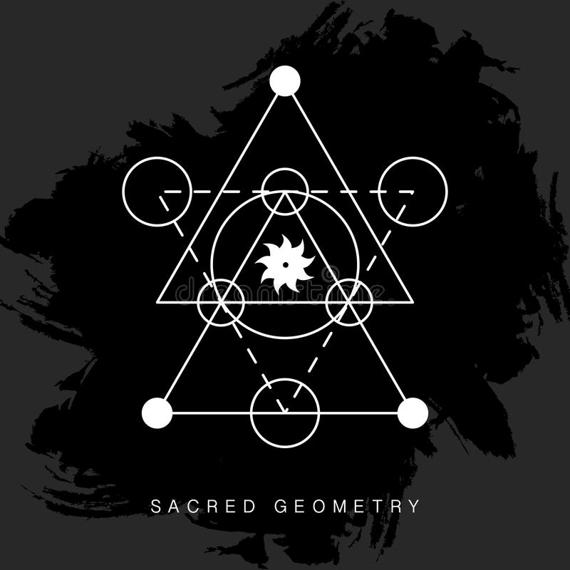 Muestra sagrada de la geometría en fondo negro del grunge ilustración del vector