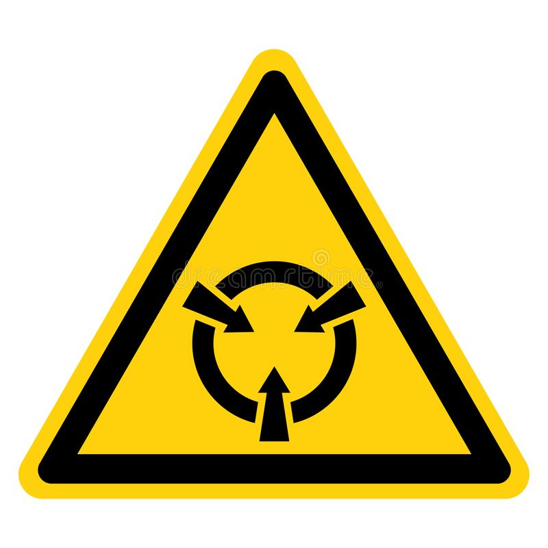 Muestra sensible electrostática del símbolo del ESD del dispositivo, ejemplo del vector, aislante en la etiqueta blanca del fondo ilustración del vector