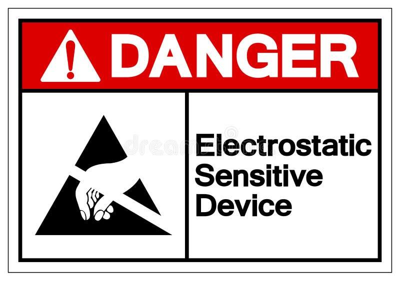 Muestra sensible electrostática del símbolo del ESD del dispositivo del peligro, ejemplo del vector, aislante en la etiqueta bl libre illustration