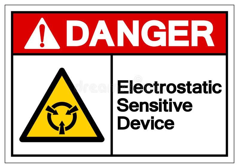Muestra sensible electrost?tica del s?mbolo del ESD del dispositivo del peligro, ejemplo del vector, aislante en la etiqueta blan ilustración del vector