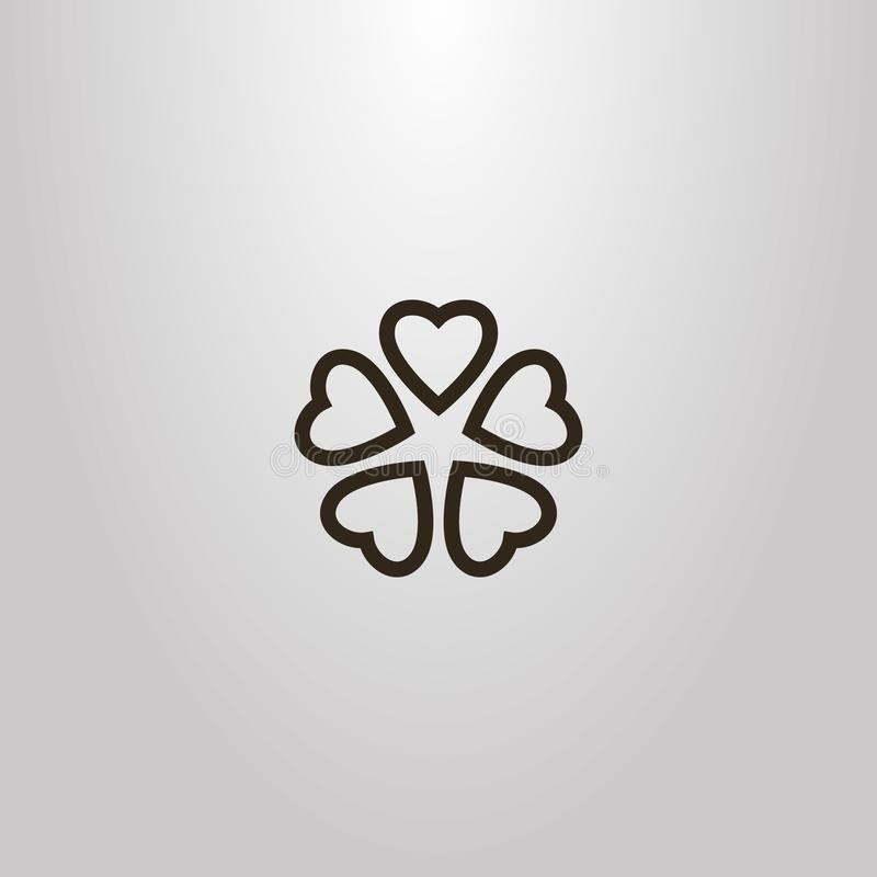 Muestra simple de la flor del vector de cinco pétalos en forma de corazón ilustración del vector