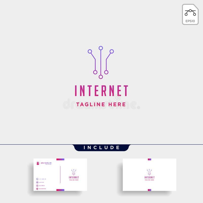 muestra simple del icono del símbolo de la comunicación del vector del diseño del logotipo de la conexión a internet libre illustration