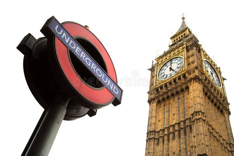 Muestra subterráneo y Big Ben en Londres imágenes de archivo libres de regalías