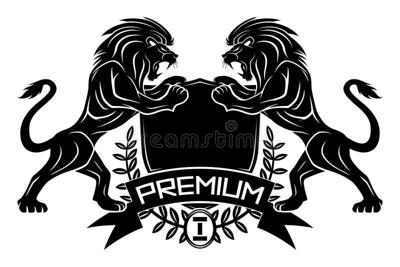 Muestra superior con los leones y el escudo libre illustration