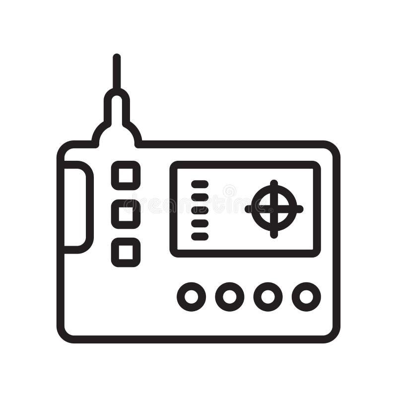 Muestra teledirigida y símbolo del vector del icono aislados en el fondo blanco, concepto teledirigido del logotipo, símbolo del  libre illustration