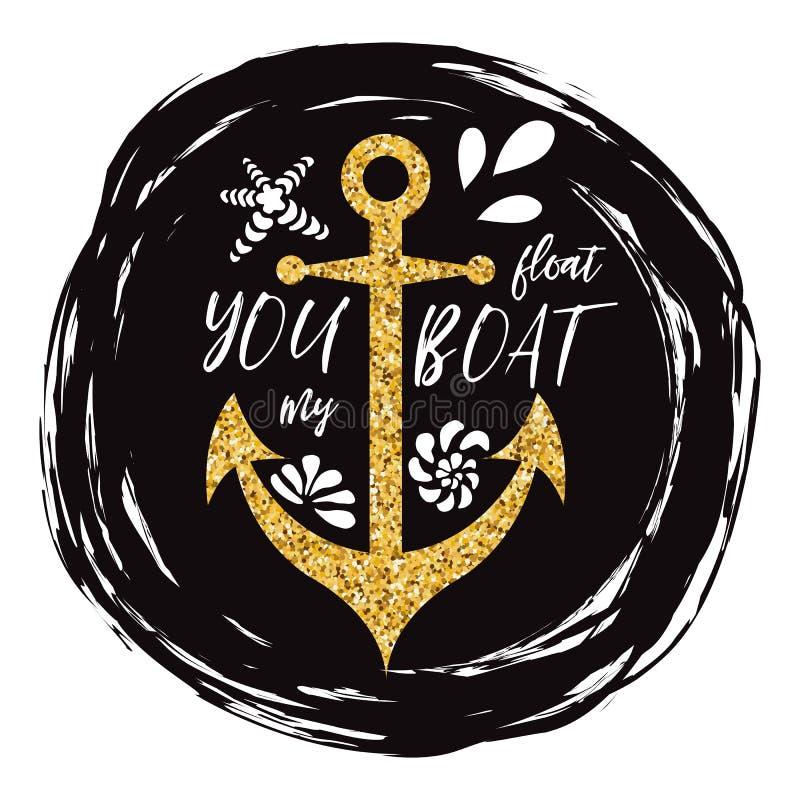 Muestra tipográfica con frase usted flota mi ancla adornada barco, conchas marinas, onda Grande para el amor, día de tarjetas del stock de ilustración