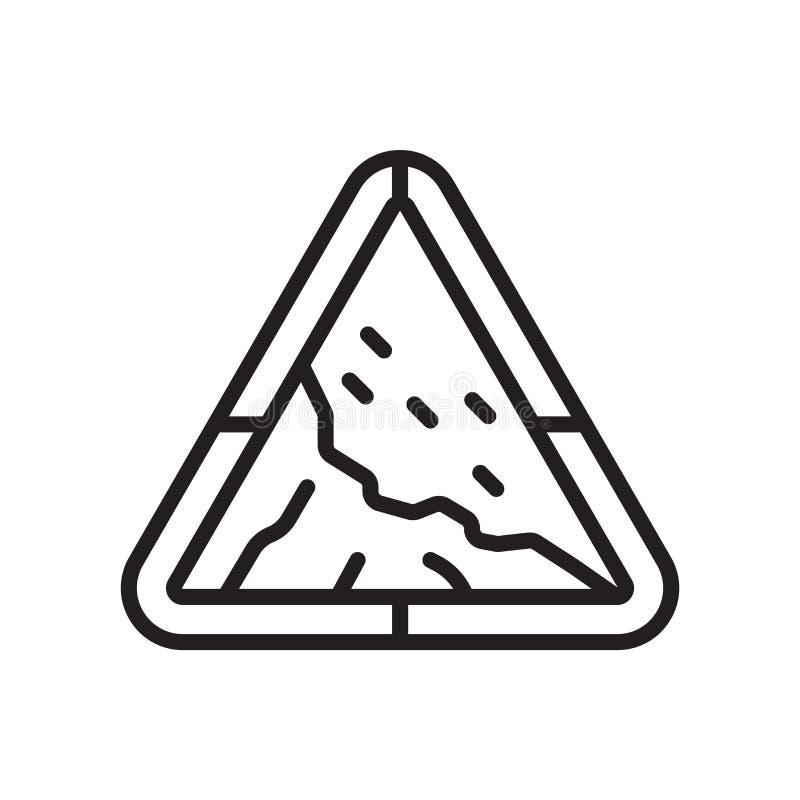 Muestra triangular y símbolo del vector del icono de la señal de tráfico del peligro del derrumbamiento aislados en el fondo blan libre illustration