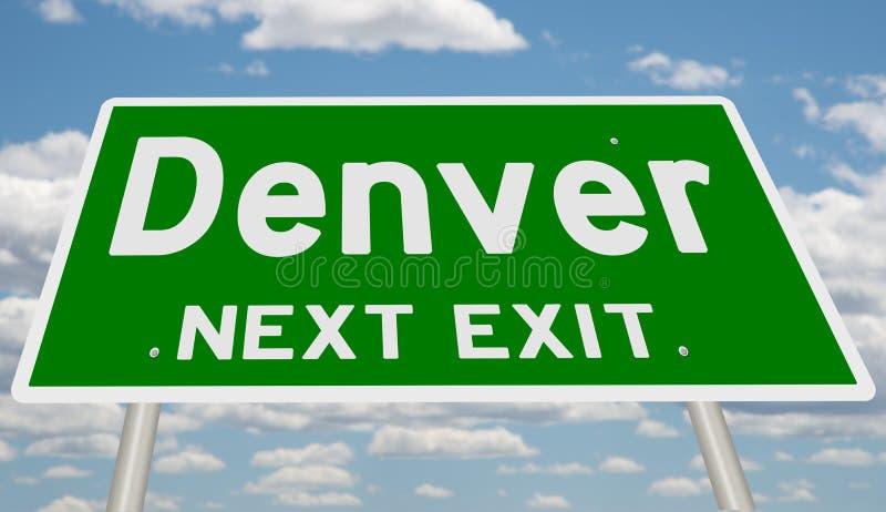 Muestra verde de la carretera para la salida siguiente de Denver libre illustration