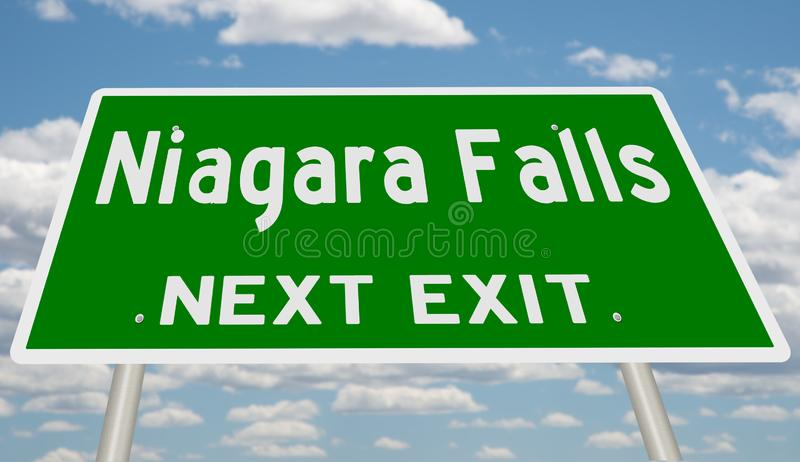 Muestra verde de la carretera para la salida siguiente de Niagara Falls ilustración del vector