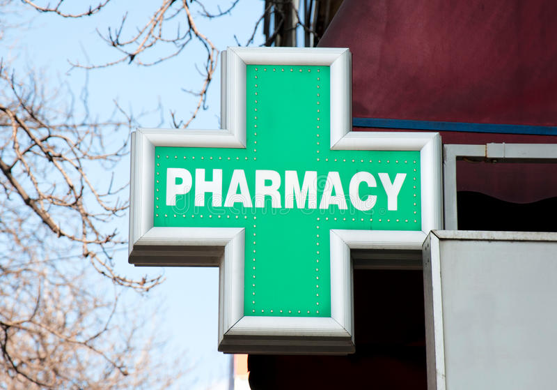 Muestra de la farmacia imagen de archivo