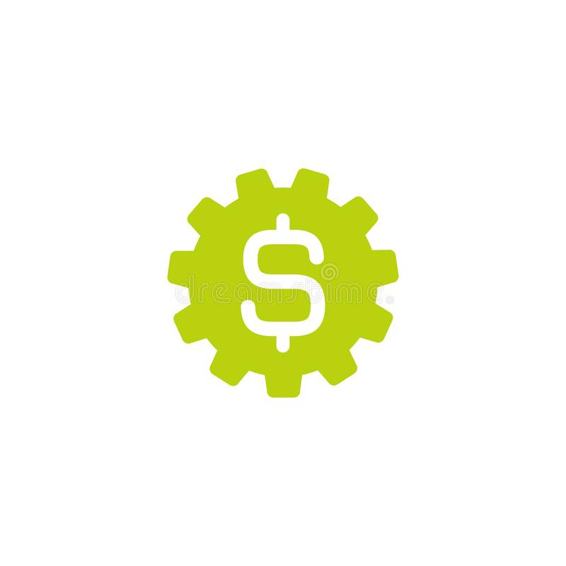 Muestra verde del engranaje y de dólar Icono plano Ilustración del vector Icono del coste de desarrollo Muestra financiera de la  libre illustration