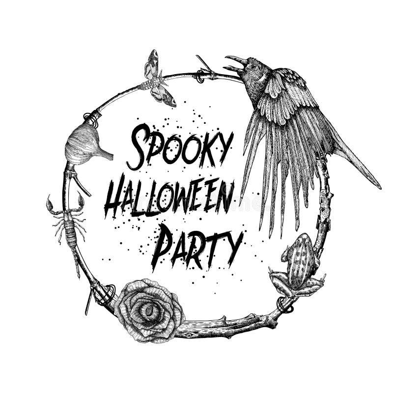 Muestra y cartel fantasmagóricos del partido de Halloween Decoración de Halloween adentro stock de ilustración