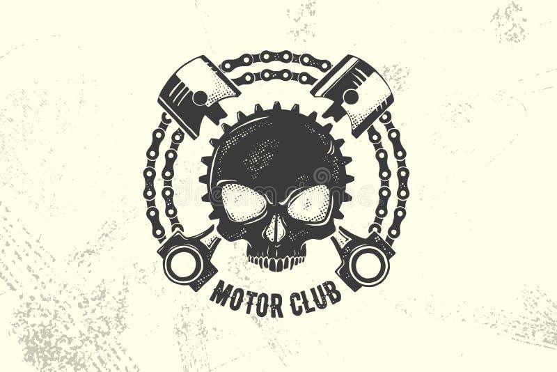 Muestra y etiqueta del club del motor del vintage con la cadena, el cráneo y los pistones Emblema de motoristas y de jinetes ilustración del vector
