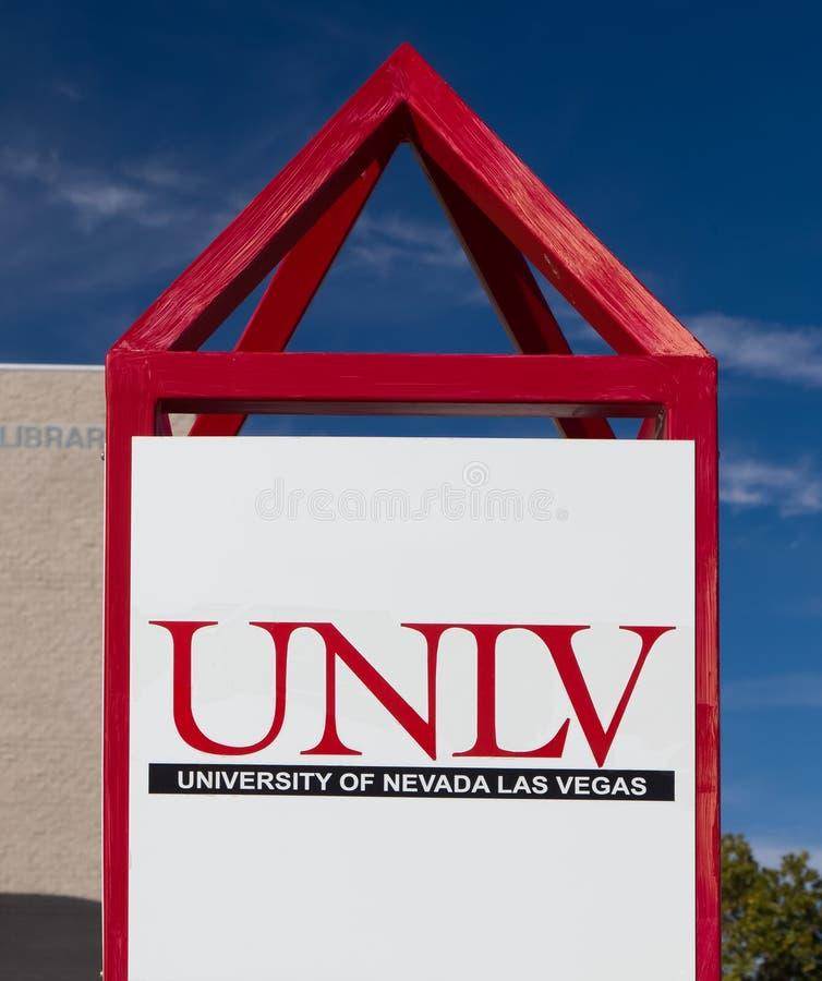 Muestra y logotipo del campus en UNLV imagen de archivo libre de regalías