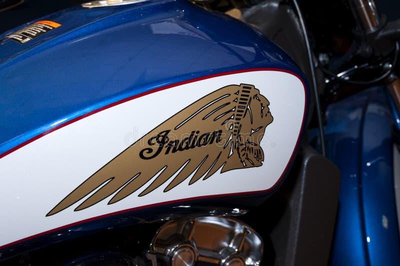 Muestra y logotipo indios de la motocicleta imagen de archivo libre de regalías
